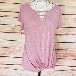 NWOT ECLA rose mauve heathered knot tie t-shirt